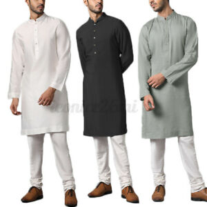 INCERUN Men Indian Traditional Kurta Shirt Long Sleeve Kaftan Shirt Blouse Tunic