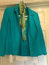 4 Piece Suit Jacket Skirt Top Scarf New With Tags Uk Size 16 Linen Mix