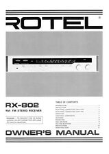 Rotel RX-802 Receiver Owners Manual