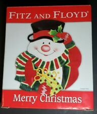 "Fitz & Floyd Merry Christmas Snowman Collector Canape Snack Plate 8 x 9"" 2006"