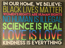 We Believe Yard Sign Human Rights Justice, Blm Lawn, Feminism, No Human Illegal