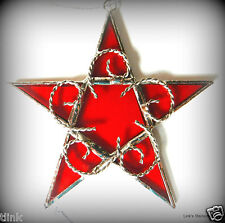 Stained Glass Handmade Red Star ornament sun catcher