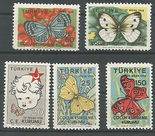 1948 TURKEY SOCIETY FOR THE PROTECTION OF CHILDREN BUTTERFLY  SET OF 5 MNH**
