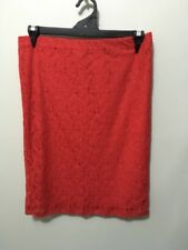 "pre-loved ""NOW"" red lace fully lined stretchy elastic waist skirt size 16b"