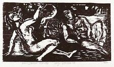 Hans jüchser-Adam et Eve-Gravure sur bois 1974/1977