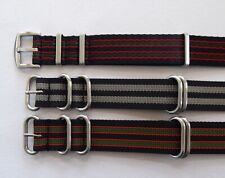 HEAVY DUTY STRIPED NATO MILITARY STYLE WATCH STRAP JAMES BOND COLOURS 22 - 24MM