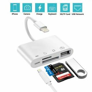 4 in 1 TF SD Card Reader Camera USB 2.0 Female OTG Adapter for iPhone