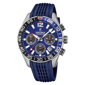 Festina F20517-1 Men's Chronograph Blue Dial And Rubber Strap Wristwatch