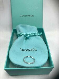 NEW Tiffany & Co. Metro 18K White Gold .22 CTW Diamond Eternity Band Ring Size 5