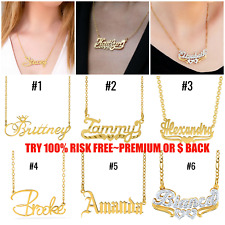 Personalized ANY NAME 24K Gold Plated Sterling Silver Necklace Pendant Chain NEW