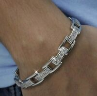 "Details about  /Men/'s CZ Stones Link Bracelet Iced Genuine Sterling Silver .925 8/"" 9/"" Rhodium Pl"