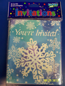 Glitter Snowflake Frozen Movie Blue Winter Christmas Holiday Party Invitations