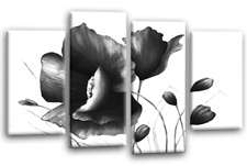 FLORAL CANVAS ART PICTURE GREY WHITE FLOWER LOVE PAINTING 4 WALL PANELS