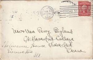 1906 USA envelope sent from Broad Street Station  Philadelphia to Evanston ILL