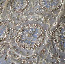"""Antique FLAPPER c1920s Ecru French LACE 18"""" Wide FLOUNCE Seed PEARLS + WAX Buds"""