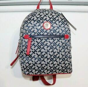 Tommy Hilfiger Willow II-Backpack-Geometric Jacquard Trim Navy White/Red