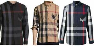Burberry men's thornaby  long sleeve button nova check down shirt  s m l 2xl