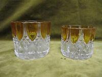 2 boites (base) cristal val st lambert Valembert ambre