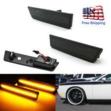 2x Smoked Lens Front Side Marker Amber LED Lights For 2008-2014 Dodge Challenger