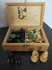 Schach Spiel Figuren Figurenbox Holz Ahorn ca. 40 Jahre tiptop Zustand