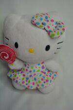 TY White Hello Kitty Plush Stuffed Animal Toy Pink Lollipop Polka Dot Dress Bow