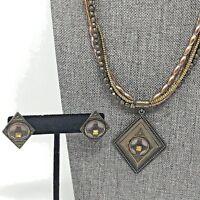 Copper Brown Bead Multi Strand Rhinestone Diamond Shape Necklace Earrings Set