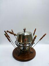 Vintage Mid-Century Retro Fondue Pot Set - Stainless Steel
