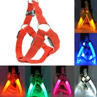 Pet Dog LED Harness Belt Glow Nylon Chest Collar Tether Night Safe Clothes Decor