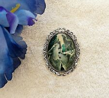 The Moon Glass Domed Silver Tone Frame New Classic Cameo Brooch Wolf Howling At