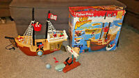 Vintage 1994 Fisher Price Great Adventures Pirate Ship Set in Box Incomplete