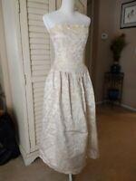Jessica McClintock Ivory Strapless Sequin & Beaded Brocade Gown Sz 12