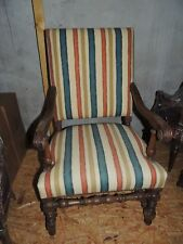 Imposant fauteuil à bras Louis XIII, époque XVII-XVIII°, restauré