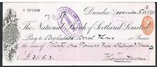 CHEQUE THE NATIONAL BANK OF SCOTLAND 1895 DUNDEE BRANCH -ARCHIBALD ARROL & SONS