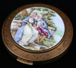 Regent of London England Porcelain Insert Compact Victorian Couple on Bench
