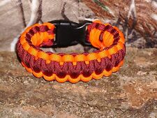 550 Paracord Survival Bracelet Orange and Burgundy Triple Core Cobra Weave USA