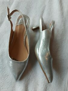 J D Williams Silver Slingback Court Shoes Size 4 EEE