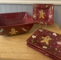 LAURIE GATES HOLIDAY TREATS Square Bowl & 4 Appetizer Plates GINGERBREAD MAN