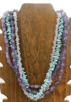 "Vintage Multi Layer Faux Turquoise Amethyst Plastic Gold Tone Bib 21"" Necklace"