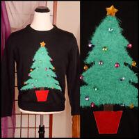 **FUZZY CHRISTMAS TREE** bold 3D rhinestone jewel UGLY XMAS SWEATER party L