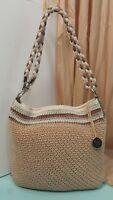 022  The Sak Handbag Tan Crochet Stripe Detail Sholder Bag Satchel Purse //