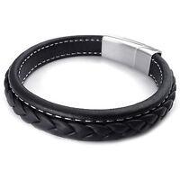 Schmuck Herren Armband, Armreif, Leder Edelstahl, Schwarz GY