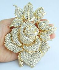 "Gorgeous 5.12"" Rose Flower Brooch Pin Clear Austrian Crystal Pendant EE02994C15"