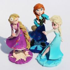 "Anna Elsa Rapunzel 3pc Set Large 4"" Birthday Cake Topper PVC Figurines Toy"