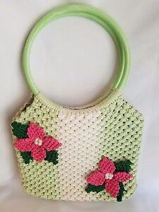 Handmade Green White Pink Floral Embellished Macrame Purse Hand or Shoulder Bag