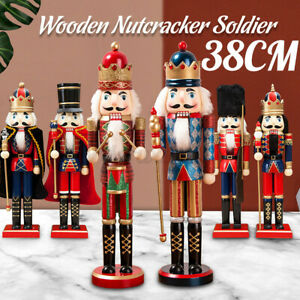Traditional Wooden Nutcracker Soldier Puppet Toy King Decor Christmas Gift Kids