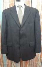 CHAPS Ralph Lauren 3 Button 44R Black Pinstriped 2 Piece Wool Mens Suit