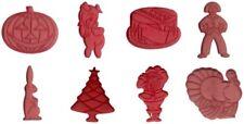 Tupperware Set of 8 Vintage Red Plastic Cookie Cutters Holiday Turkey Santa Tree