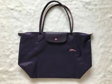 France Md Longchamp Club Collection Horse Embroidery Large Tote Bilberry