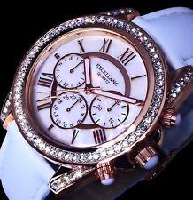 Excellanc Uhr Damenuhr Armbanduhr Weiß Rose Gold Farben Strass Perlmutt Look L18