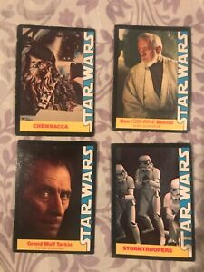 4 Star Wars trading cards from 1977